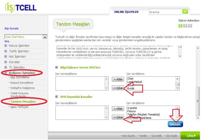 Turkcell reklam SMS engelleme