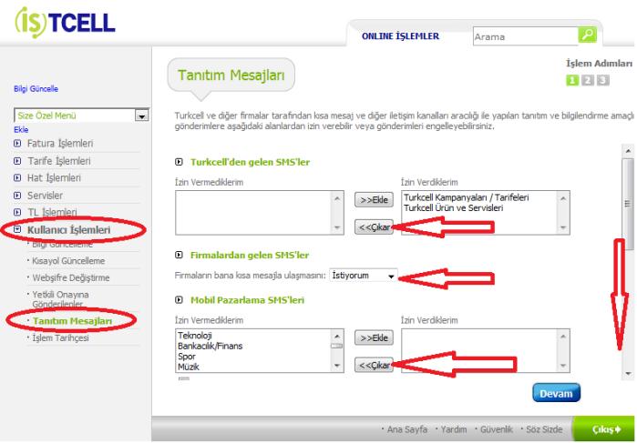 Turkcell SMS Mesaj Engelleme